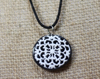 Black and White Pendant-Polymer Clay Necklace
