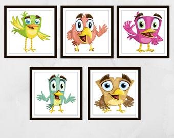 Set of 5 cartoon bird prints, Nursery wall art, Nursery prints, nursery decor, Kids wall art, kids bedroom art, children's wall art,