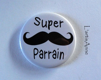 Super Uncle Magnet / door key/bottle opener magnetic bottle opener / Badge pin 56mm.