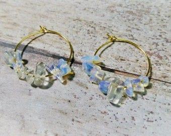 Crystal Hoops, Gold Hoops, Opalite Earrings, Gold Hoop Earrings, Golden Hoops, Opal Hoops, Stone Earrings, Stone Hoops, Minimal Hoops
