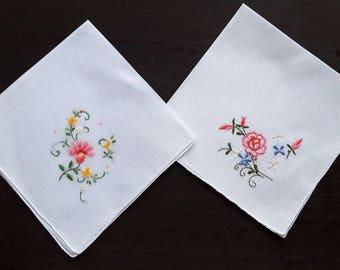 Vintage white fine cotton handkerchiefs set of two