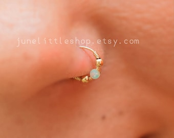 Tiny nose ring hoop, opal nose piercing, blue opal nose hoop, white opal nose ring, beaded nose hoop, small nose ring, opal nose ring 8mm,