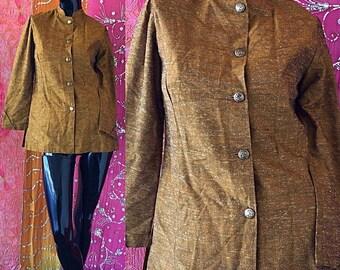Sale Mod Jacket Tapestry Jacket Metallic Gold Jacket Vintage 90s Nehru Jacket