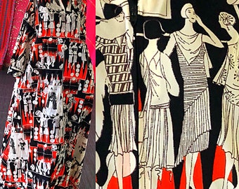 Psychedelic Mod Dress Novelty Print Ladies Parisienne 70s Maxi Dress