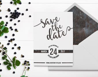 Industrial Save the Date - Metal Industrial Letters - Rusted Metal - Industrial Wedding - Metalworks - Nuts and Bolts - Matching Suite