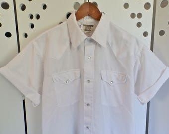 Sheer White Pearl Snap Western Shirt - Size Large Tall
