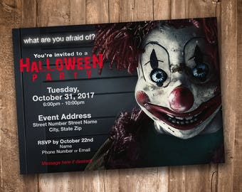 Scary Clown Adult Halloween Party Invitation *Personalized Digital Printable*