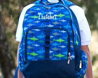 Boys Shark Backpack - School Backpack - Blue Monogram Backpack - Preschool Backpack - Boys Monogram Backpack - Boys Monogrammed Backpack