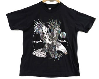 VTG Holographic Eagle Reno T-Shirt - XL - Tourist Tee - Native American - Wildlife - Screen Stars - Nevada Vintage Tee - Vintage Clothing -