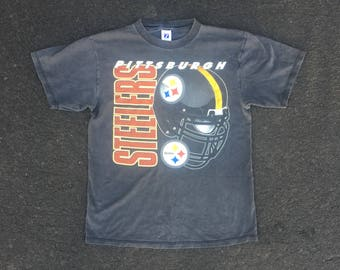 VTG Pittsburgh Steelers T-Shirt - Medium - Logo 7 - Faded Black - NFL - Football - Vintage Tee - Vintage Clothing -