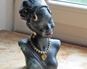 1950-60's buste of African woman made in France / vintage small statue of African woman