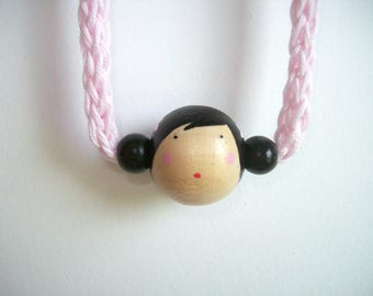 Little Kokeshi necklace - Pale pink cord