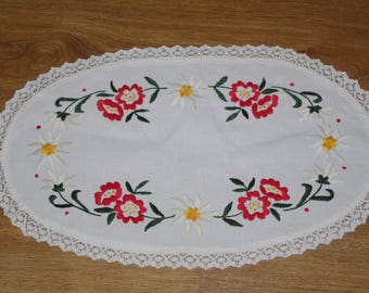 Polish white hand embroidered linen table runner Oval floral multicolour Flowers Floral Embroidery Traycloth Hand made flowery dresser scarf