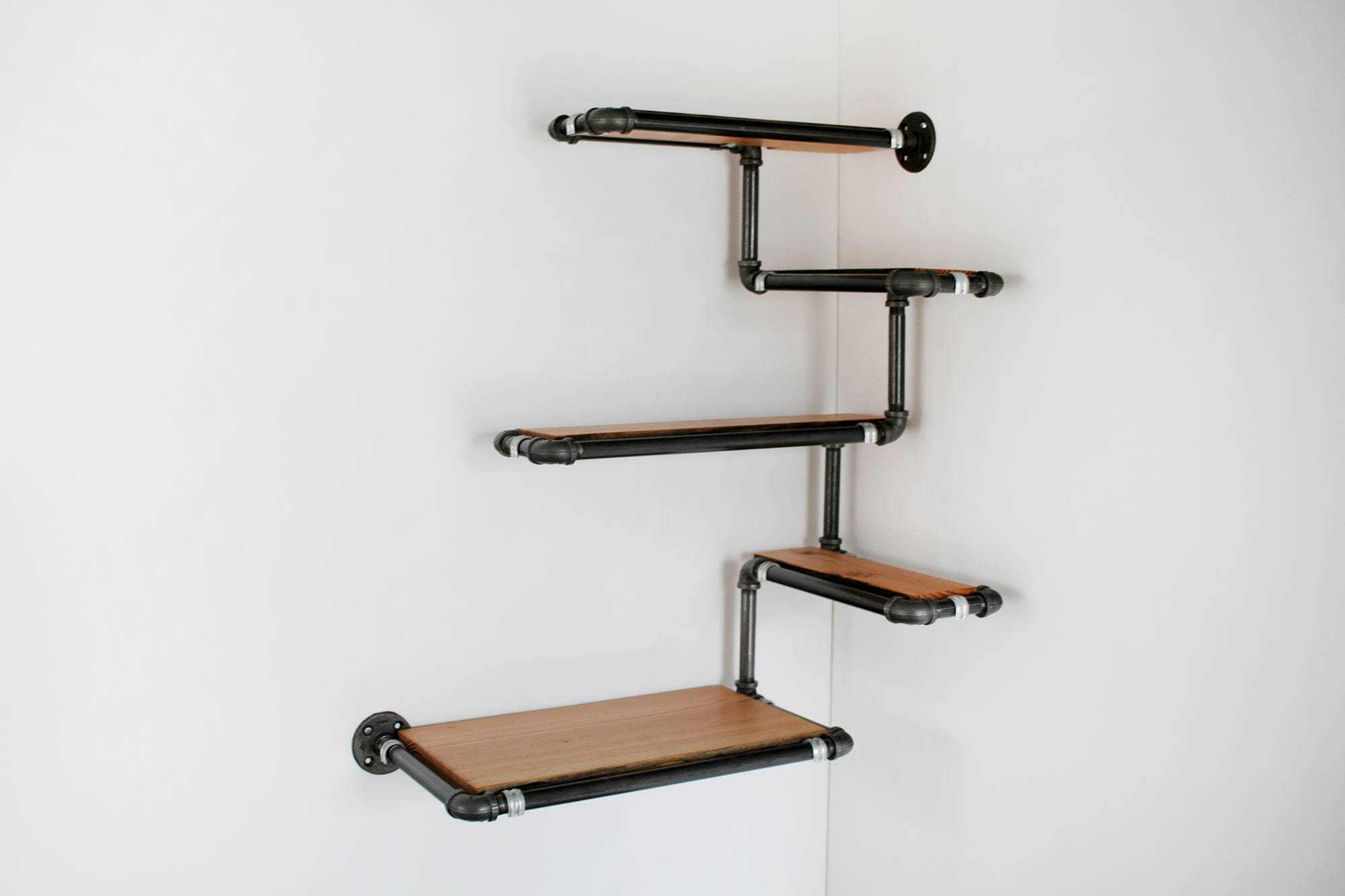 pipe wall shelf with reclaimed wood custom pipe shelves made. Black Bedroom Furniture Sets. Home Design Ideas