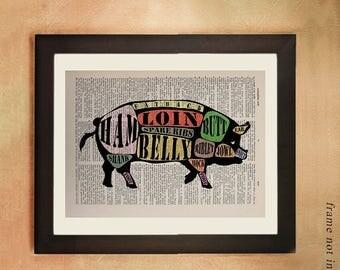 SUMMER SALE-Ends July 5- Pig Dictionary Art Print, Diagram Meat Cuts Chart Pork Hog Bacon Ham Butcher Chart Kitchen Art Foodies Gift da344