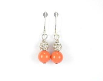 Orange pearl earrings, bridesmaid earrings, pearl earrings, dangle earrings, sterling silver earrings, earrings, gift for her, orange