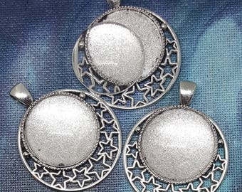 One Antique Silver Alloy Star Pendant Blank Bezel Tray Setting // with Clear Round Glass Cabochon (25mm) // APB010