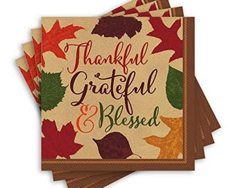 Set Of 16 Strong 5 Inch Disposable Autumn Blessings Dessert - Beverage Napkins - Thanksgiving - Fall Leaves - Autumn Paper Napkins