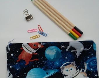 Space Cats Make Up Bag Pencil Case Girls Zipped Pouch Pencil Bag Back To School Accessories Crayon Toy Pouch Holder Organiser