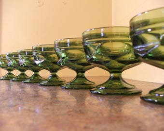 Set of Eight (8) Vintage Green Indiana Glass Thumbprint Footed Serbet / Dessert Glasses