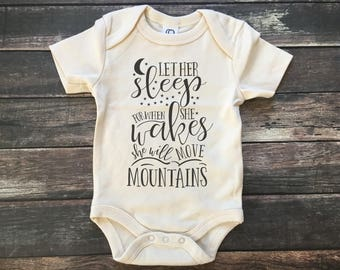 Let Her Sleep, she moves mountains, coming home, organic baby outfit, baby girl outfit, natural baby clothes, woodland baby, wild child