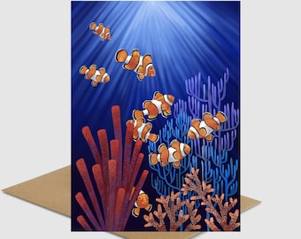 Clown fish tank Underwater coral reef Nemo fish greeting card FREE SHIPPING save ocean greeting card diving snorkeling save big barer reef