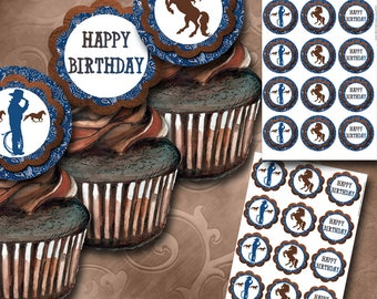 Cowboy Cupcake Toppers - Instant Download - Printable Cupcake Toppers - Boy Party - Kids Party