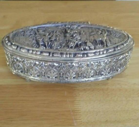 tarnished silver jewelry box oval jewelry box farmhouse style