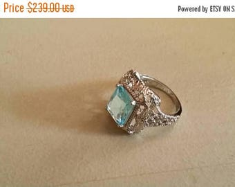 Holiday SALE 85 % OFF Blue Topaz ring size 6 Sterling 925 Silver   Ring  Gemstone