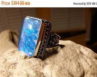 Holiday SALE 85 % OFF Snakeskin Quartz  ring size 8 Sterling 925 Silver   Ring  Gemstone