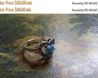 Holiday SALE 85 % OFF Turquoise  Size 8 Ring Gemstone. 925 Sterling  Silver Tribal Ethnic