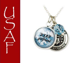 Deployment Gift, Air Force Jewelry - USAF Mom - USAF wife - USAF girlfriend - One day closer - Personalized Military Jewelry