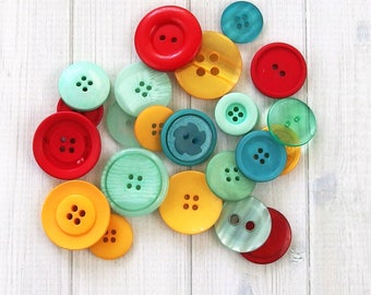 Assorted Buttons, Sewing Buttons, Craft Buttons, Mixed Buttons, Bulk Buttons, School Days