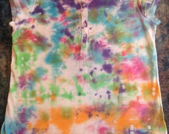 Girls' Size Large(10-12) Up-Cycled Tie Dye T-Shirt,glittered buttons on front and sleeves,short sleeves
