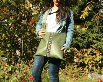 leatherette upholstery and pale green fabric shoulder tote bag