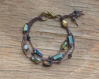 Ancient Roman glass bracelet, hand knotted