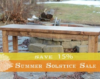 15% OFF SUMMER SALE!! 48 inch Wood Bench, Entryway Bench, Wooden Bench, Rustic Bench, Reclaimed Wood Bench in Early American Stain
