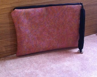 Pink marbled leatherette bag pouch