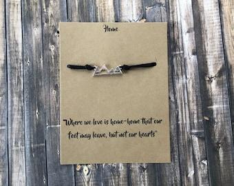 Home Wish Bracelet *Mountains* Eco friendly cord*make a wish*