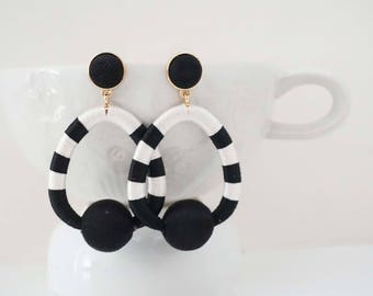 Black and White Post Stud Statement Earrings
