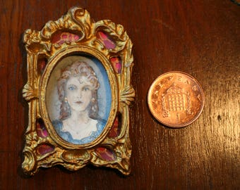 Portrait of a Lady - Hand-painted 'Dolls House' Miniature Painting.