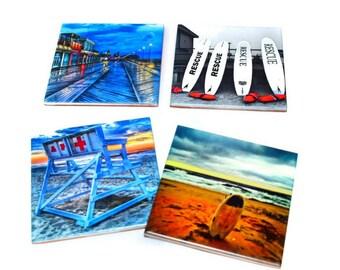 Asbury Park Coaster Set of 4 / Asbury Park Boardwalk, Asbury Park Beach / Jersey Shore Gift  / Colorful Beach Coasters