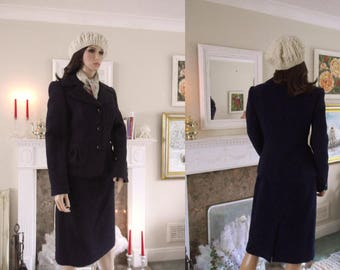 T M Lewin vintage style 1940s/50s 60% wool skirt suit  Navy blue wool skirt suit Navy wool skirt and jacket, A1178