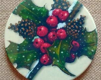 "Coaster, Christmas Holly, Original Art, 3.5"" Drink Coaster, Cork Backing, Holidays, Snow, Berries, Winter"