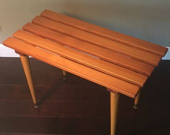 Mid Century Modern Coffee Table / Slat Bench George Nelson Style Danish Modern
