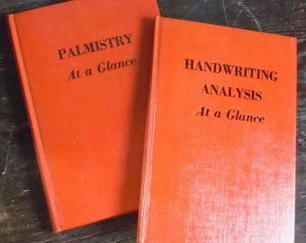 Palm Reading and Handwriting Analysis / 2 Small Orange Linen-bound Books / Vintage Science Research