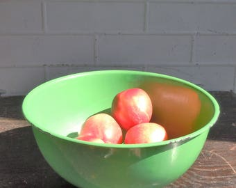 Enamelware / Large Round Green Bowl / Lightweight / Charming useful antique / Rare Green Color