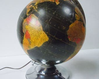 Black Globe / Rare Lighted Vintage Version / Glass inside / Great Condition / Vintage beauty / Chrome Base