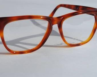 vintage RAFFAELLO arte italiana 301 326 RAFLEX  56-16 tortoise  amber brown wayfarer style eye/sunglasses frame made in Italy New