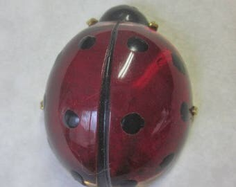 Large Realistic Lady Bug Button. Painted Back Polyester or Acyrlic Lady Bug. Insect Button  OneWomanRepurposed B 596
